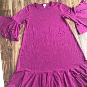 LuLaRoe, Bell sleeve Ruffled dress, size S